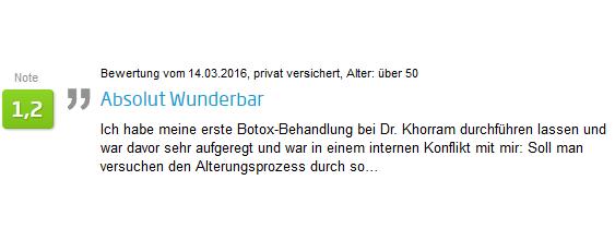 Patienten Bewertung Botoxbehandlung